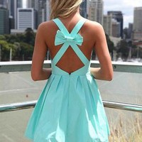 Blue Sleeveless Mini Dress with Open Cross Bow Back