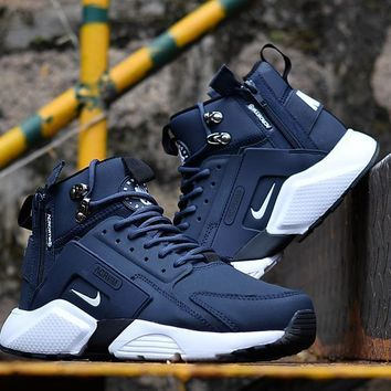 Huarache X Acronym City Mid Leather Navy/white Sneaker Shoes