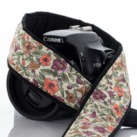 Floral Camera Strap, Fits dSLR, SLR or Mirrorless cameras, Canon camera strap, Nikon camera strap, Camera Neck Strap, 157 w