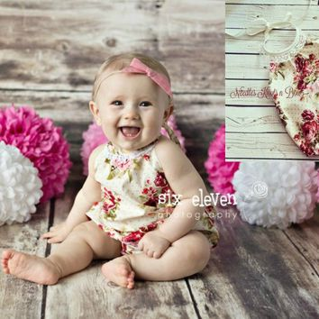 Baby Girls Romper, Boho Floral Dot Romper, Cake Smash Birthday Romper