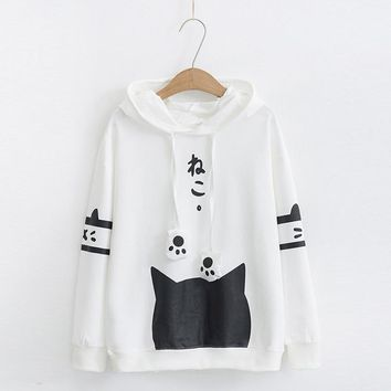 Harajuku Neko Cat Kawaii Hoodie Lolita Junior Cute Ear Hoody Pullover Student Girls Spring School Clothes Anime Lovely Paws Tops