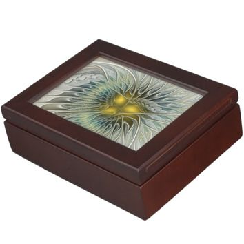 Golden Flower Fantasy, abstract Fractal Art Memory Box
