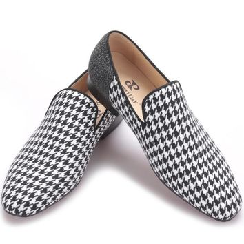 Piergitar brand Handmade men flats shoes with Swallow gird patchwork Party and Banquet men dress shoes big size men loafers