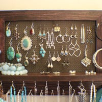 Stained Wall Mounted Jewelry Organizer, Wall Organizer, Jewelry Display, Necklace Holder, Earring Organizer