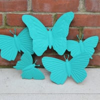 Turquoise Metal Butterfly Wall Art, Wall Hanging, Wall Decor