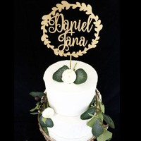 Bride and Groom Wreath Cake topper