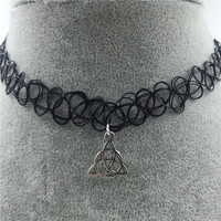 Tattoo Choker Necklace with Unique Pendant + Gift Box-31