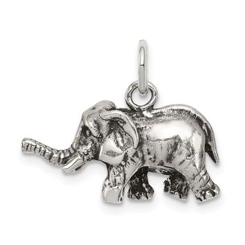 925 Sterling Silver Antiqued Elephant Charm and Pendant