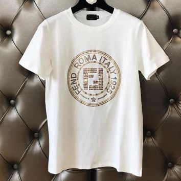 FENDI Newest Hot Sale Fashionable Women Leisure Diamond Short Sleeve Round Collar T-Shirt Top White