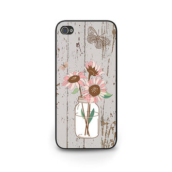 Floral iPhone 6 Case - Boho Cell Phone Case - Pink Sunflowers iPhone 6 Case - Mason Jar Vase iPhone 6 Case