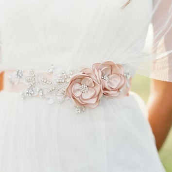 Bridal Champagne Beaded Flower Sash. Bridal Gown Flower Sash.