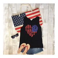 """Patriotic Me"" Heart American Flag Black Tank Top"
