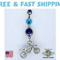 Motocross Dirt Bike Dangle Belly Ring Bar Fox Racing Yamaha Suzuki BLUE Double Gem Navel Jewelry 14G Free Shipping