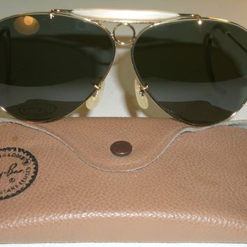 1960's VINTAGE B&L RAY BAN USA GOLD ELECTROPLATE G15 SHOOTERS AVIATOR SUNGLASSES
