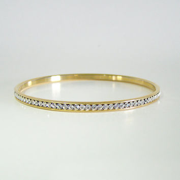 Vintage Fifth Avenue Collection Crystal Bangle, Swarovski Elements, 14kt gold plate