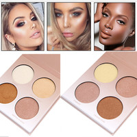 New Professional highlighter Makeup Golden Shade Contour Glow Kit 4 Colors Brighten Bronzer and White Shimmer Matte Face Powder