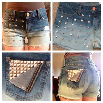 High waisted destroyed and studded ombre shorts by DonishDesigns