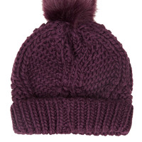 Fur Pom Cable Beanie - Accessories - New In This Week - New In - Topshop