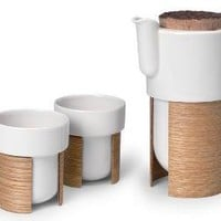 arm tea & coffee set, oak