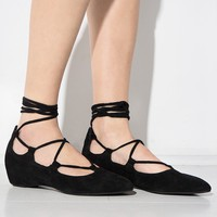 Jeffrey Campbell Atsuko Suede Lace Up Flats
