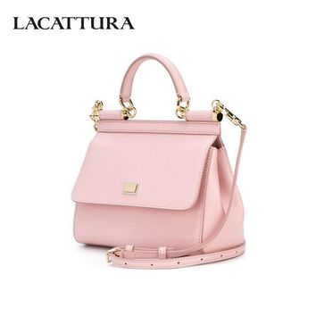 LACATTURA Luxury Leather Handbags Women Shoulder Bags Designer Top-handle Bag Crossbody for Lady Fashion Brand Wristlets