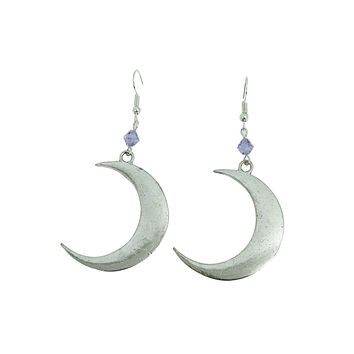 Witch Magick Crescent Moon with Lilac Crystal Eternal Love Earrings