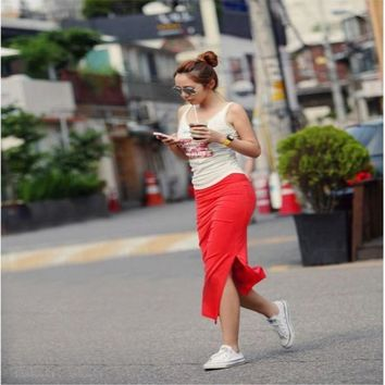 Women Split Maxi Skirts New Arrival Sexy Summer Style Womens Fitness Casual Long Skirt