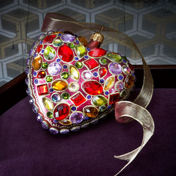 Bejeweled Heart Christmas Ornament - Jay Strongwater