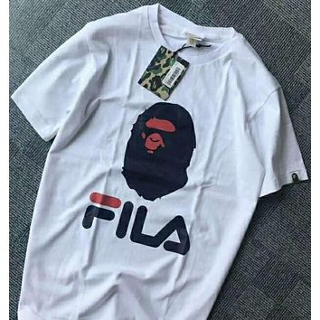 FILA fashion chest large print simple casual short sleeve N-AG-CLWM