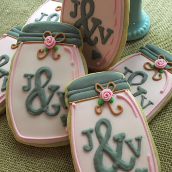 Mason jar cookies wedding or shower favors