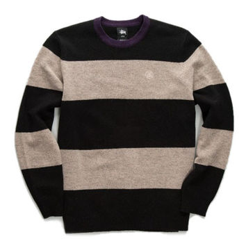 Stussy: Big Stripe Sweater - Black
