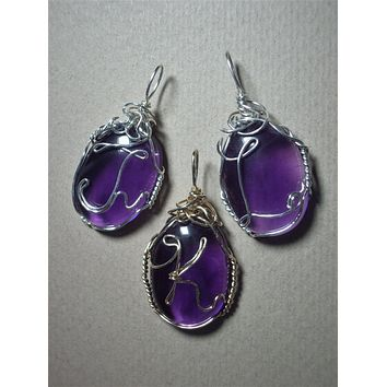 Monogram Letter Wire Wrapped Amethyst Cabochon Pendant