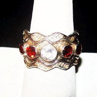 Red Garnet White Topaz Band Ring Signed 925 Sterling Silver Sz 8 NOS Vintage