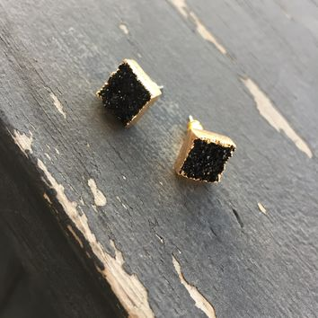 Black Druzy Gold Plated - Earring Studs