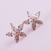Diamond Flower Shower Rhinestone Earrings