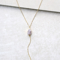 Crystal Clear Gold Drop Necklace