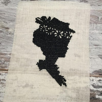 Finished Completed Cross Stitch . Edwardian Victorian Silhouette Woman . Cross Stitch Sampler . Black Silhouette . Embroidery Art .