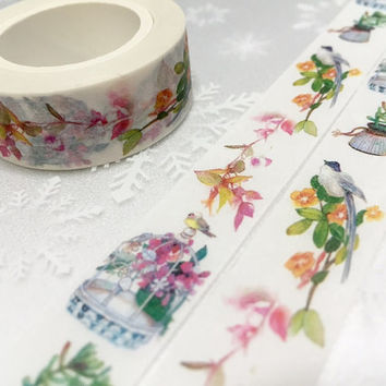 Colorful birds washi tape 10M rich color bird Garden little bird flower garden deco tape sticker bird decor cute planner tape scrapbook gift