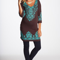 Brown-Teal-Printed-3/4-Sleeve-Maternity-Tunic