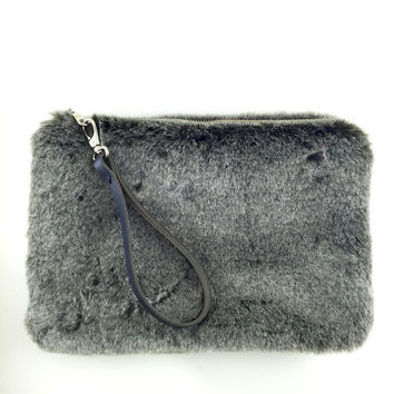 Fur Faux Clutch Bag with genuine leather wrist strap,valentine's day gift,Grey Fur Clutch,Black Clutch Purse,Boho Clutch,Zippered Clutch