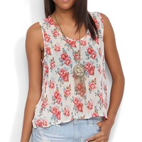 Chiffon Tank with Floral Print and Tulip Back