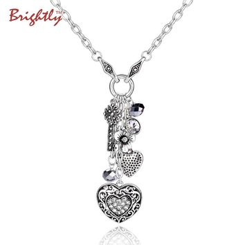 Brightly Punk Style Long Necklace Antique Silver Plated Heart & Keys Pendant Statement Necklace for Women Valentine's Day Gifts