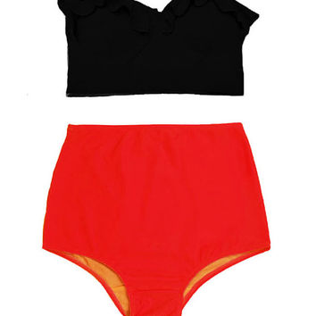 Swimwear, Swimsuit, Bathing suit, Black Midkini Top and Red Bikini 2PC Swimwear Swimsuit Bikinis Bathing suit Swimwears Swimsuits size S M