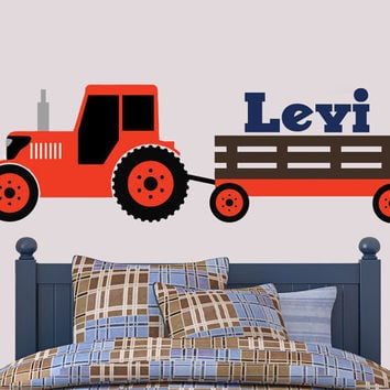 Tractor Wall Decal | Kubota Inspired Wall Decal | Boys Bedroom Decal | Tractor Room Decor |  Boys Bedroom Decor |  Farm Decor | Country