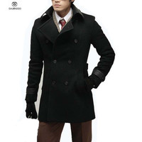 Casual Mens Wool Winter Jacket Long Woolen Men's Overcoat Leather Collar Warm Wool Outwear For Men XXL Black Coat Luxury