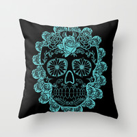 Teal Skull with Roses Throw Pillow by Luis G