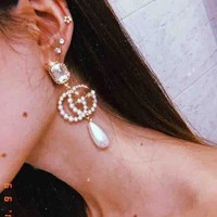 GUCCI Fashion Women Accessories Diamond Earring Pearl Earring Big Double G Accessoried