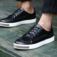 Genuine Leather Black Designer Sneakers with Oxford Embroidery