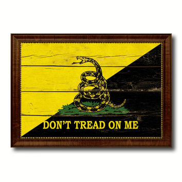 Gadsden Don't Tread on Me Military Vintage Flag Brown Picture Frame Gifts Ideas Home Decor Wall Art