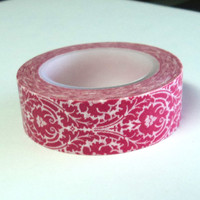 Washi Tape, Red and White Damask, 15mm x  32 ft., Scrap Booking, Card Making, Craft Tape